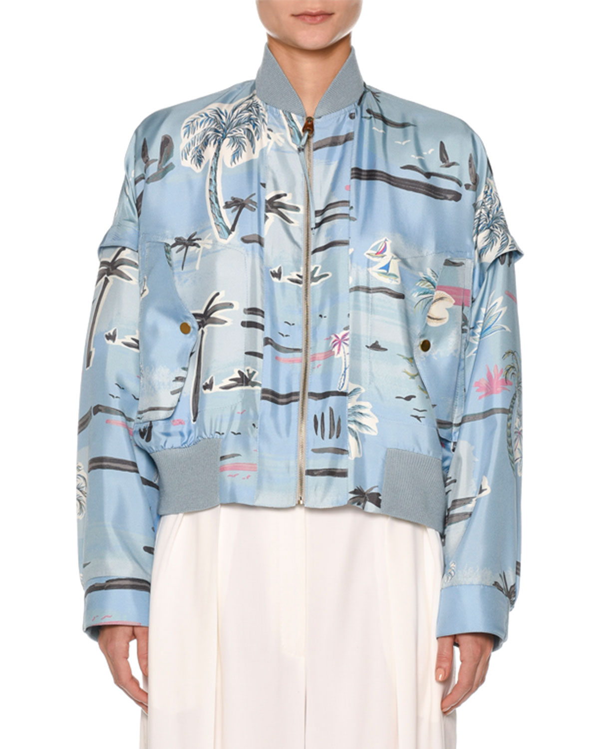 Zip-Front Palm-Tree Print Silk Bomber Jacket