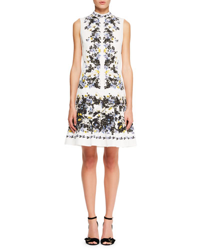 Windsor Sleeveless Floral-Print Wallpaper Faille A-Line Day Dress