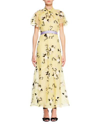 Celestina Short-Sleeve Floral-Embroidered Long Dress with Twist Detail & Belt