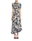 Twist-Neck Floral-Print Silk Faille Long Dress with Asymmetric Frills