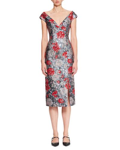 Off-the-Shoulder Floral-Brocade Pencil Cocktail Dress