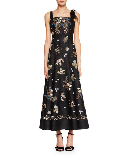 Gia Square-Neck Sleeveless Long Dress with Beaded Embroidery