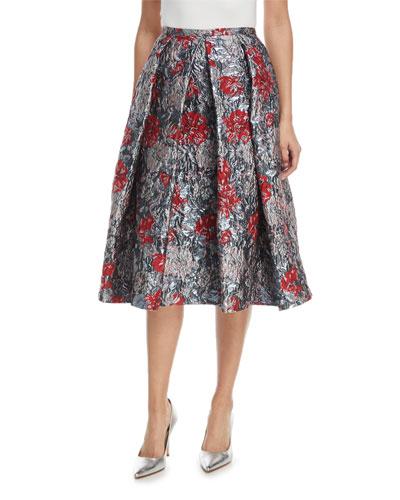 Ina Metallic Floral-Jacquard Midi Cocktail Skirt with Tucks