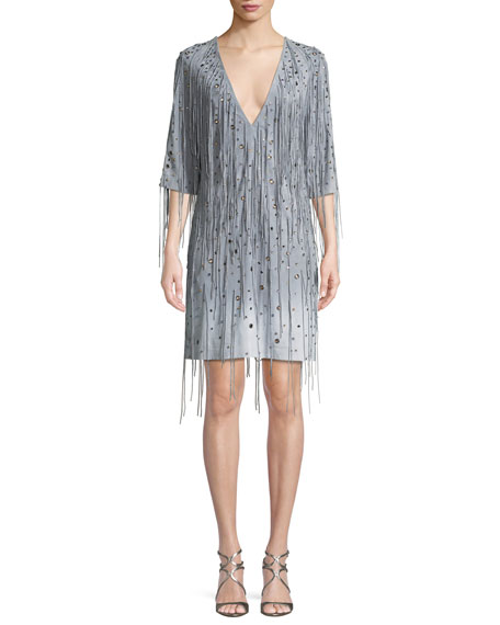Bottega Veneta Deep V-Neck Fringe Metal Eyelets Degrade Suede Dress