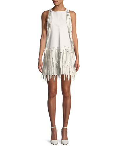 Sleeveless A-Line Leather Dress w/ Fringe Metal Grommets