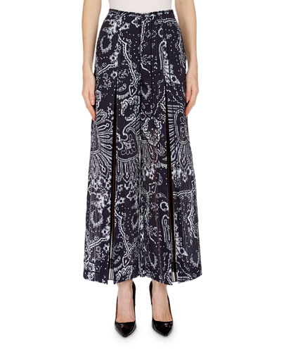 Paisely-Print Plisse Slit Wide-Leg Pants