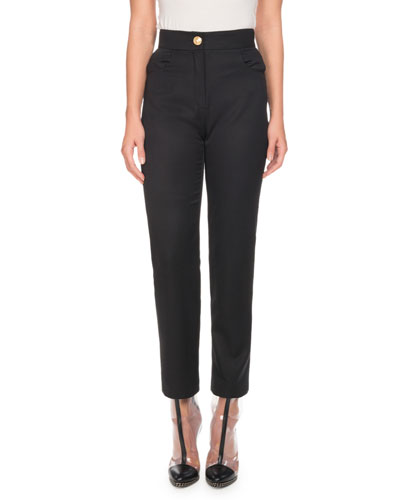 Zip-Front Wool Straight-Leg Pants
