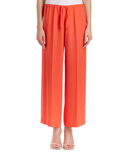Puvis Wide-Leg Drawstring Cropped Pants