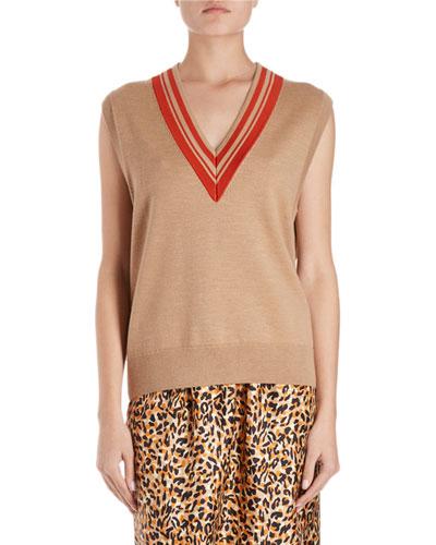 Jenifa Knit Sweater Vest w/ Racer V-Neck