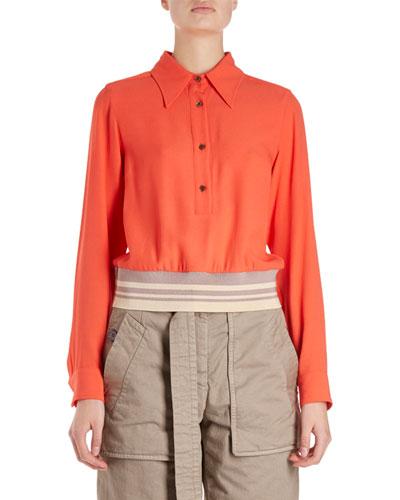 Cordi Long-Sleeve Collared Blouse w/ Knit Waistband