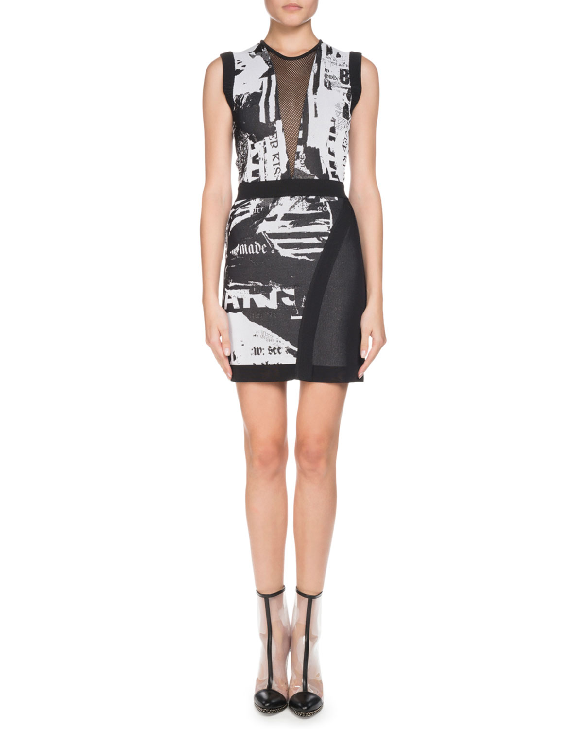 Sleeveless Newspaper-Print Sheath Mini Cocktail Dress