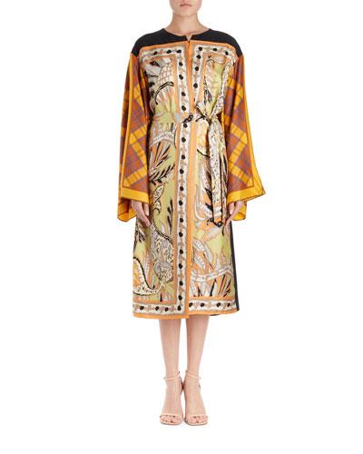 Ramido Floral-Print Silk Kimono Coat