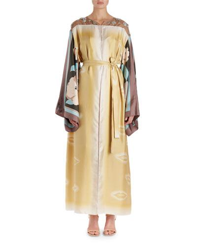 Ramidos Lip-Print Kimono Dress w/Foulard Sleeves
