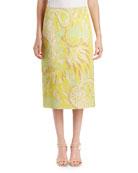 Scola Floral Brocade Midi Skirt