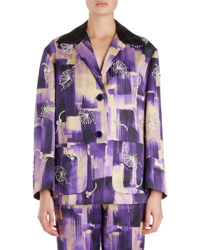 Verner Brush Stroke Jacket w/ Jewel Embellishments
