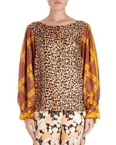 Canote Silk Leopard Blouse w/ Foulard Balloon Sleeves