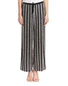 Puvis Wide-Leg Sequin Striped Pants