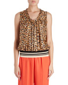 Cemian Leopard-Print Sleeveless Silk Blouse w/ Striped Knit Waistband