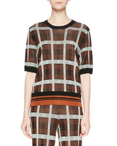 Janelle Plaid Crewneck Sweater w/ Knit Waistband