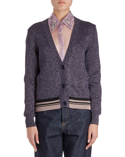 Jacy V-Neck Lurex Cardigan Sweater