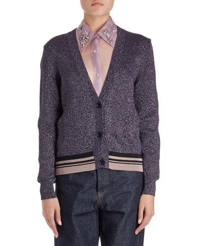 Jacy V-Neck Lurex Cardigan Sweater