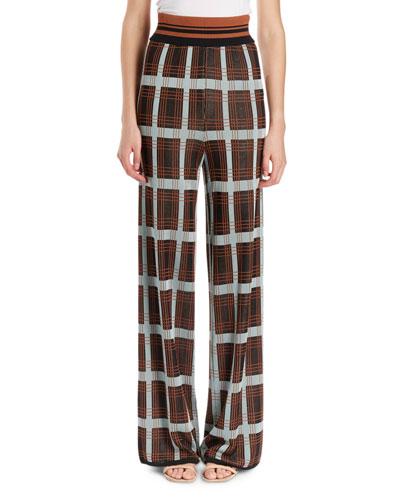 Jaunt Full-Leg Plaid Pants w/ Knit Waistband