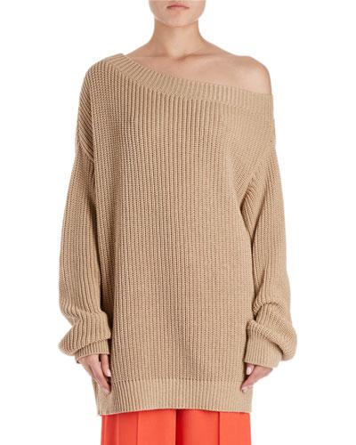 Jazma Oversized Shaker-Knit Off-Shoulder Sweater
