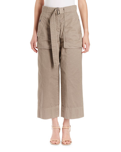 Piger Wide-Leg Cropped Pants w/ Cargo-Style Pockets