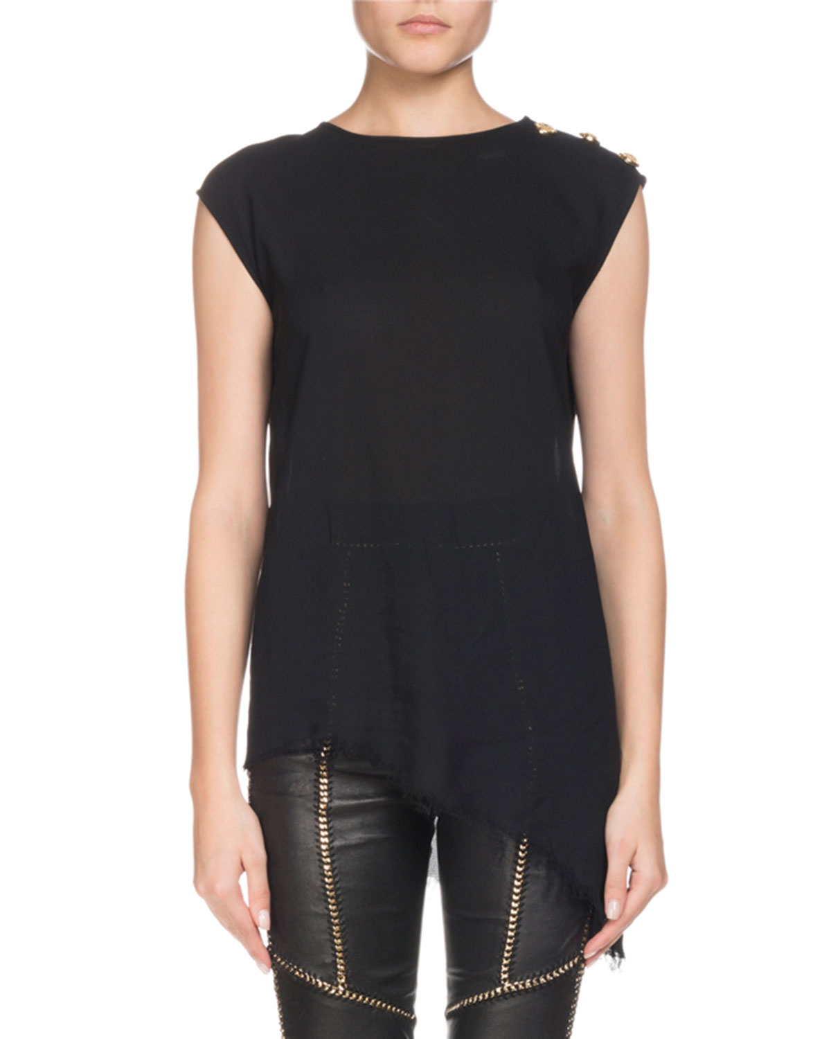 Sleeveless Asymmetric Three-Button Shoulder Silk Top