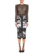 Newspaper-Print Mid-Calf Pencil Skirt