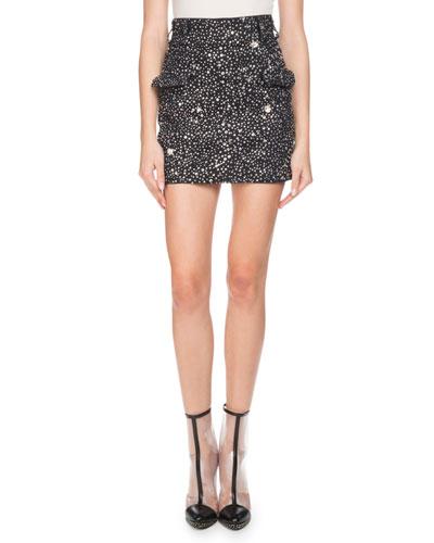 Strass-Embellished Denim Mini Skirt