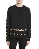 Long-Sleeve Crewneck Sweatshirt w/ Inset Coin Detail