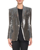 Single-Breasted Sequined Paillette Jacket