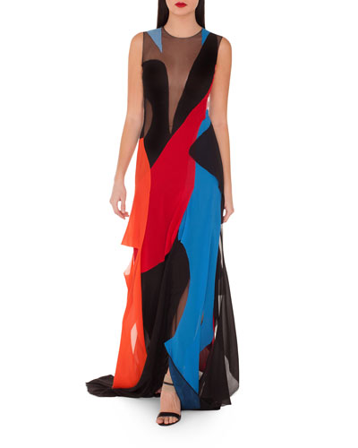 Sleeveless Multicolor Gown w/ Illusion Inserts
