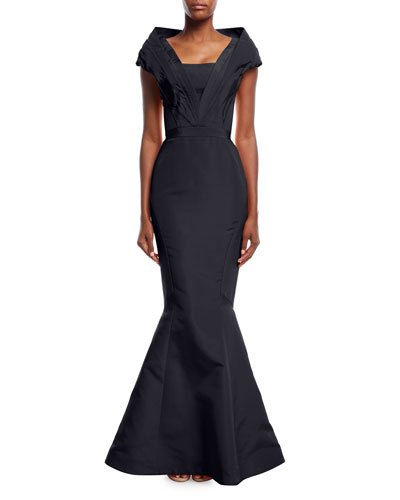 Silk Faille Portrait Collar Mermaid Evening Gown
