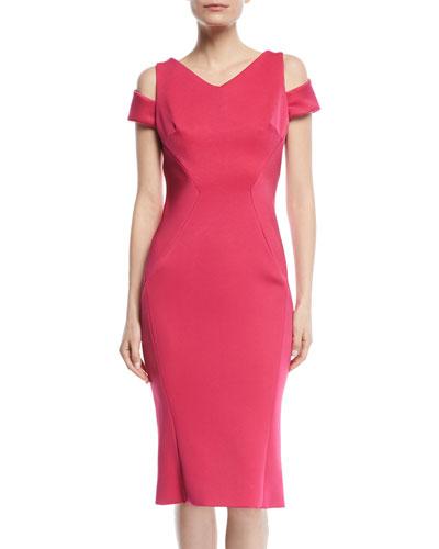 V-Neck Cutout-Shoulder Bonded Crepe Sheath Cocktail Dress
