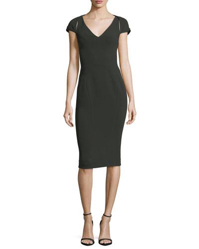 V-Neck Cap-Sleeve Bonded Crepe Sheath Cocktail Dress