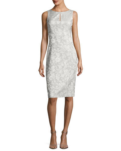 Sleeveless Party-Jacquard Sheath Cocktail Dress