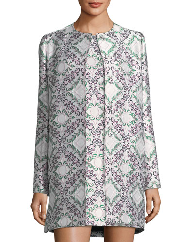 Snap-Front Jacquard Lamé Long Jacket