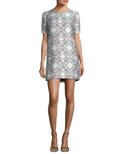 Short-Sleeve Lamé Jacquard Shift Cocktail Dress
