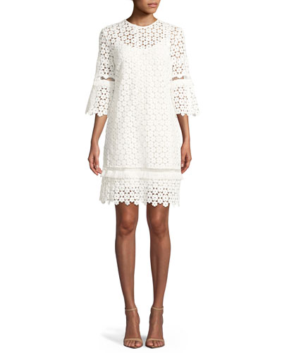 Flutter-Sleeve Shift Floral-Lace Tunic Dress