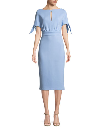 Bow-Tie Cape-Sleeve Wool-Blend Sheath Dress