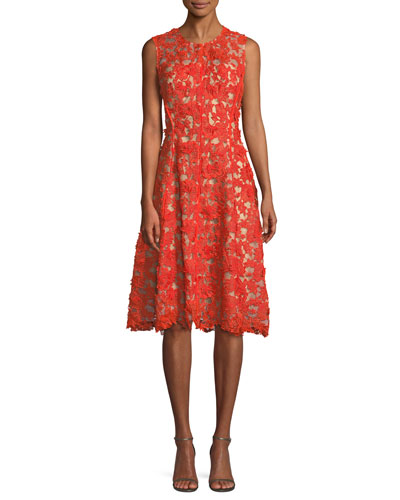 Sleeveless Lace-Guipure Fit-and-Flare Dress