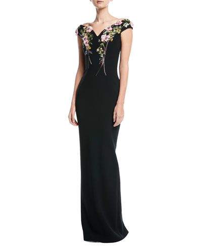 Bateau-Neck Stretch-Crepe Evening Gown with Crystal Floral-Embroidery