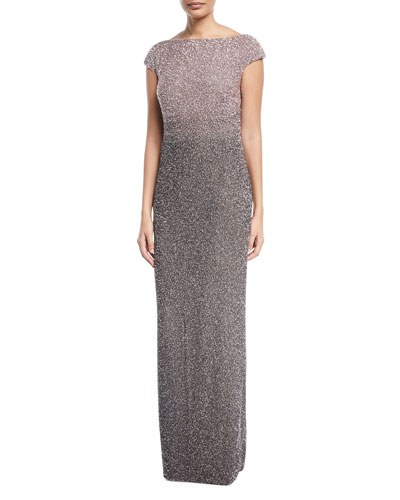 Signature Ombre Sequined Cowl-Back Evening Gown