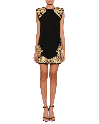 Jewel-Neck Sleeveless Shoulder-Pad Sheath Dress with Embroidery