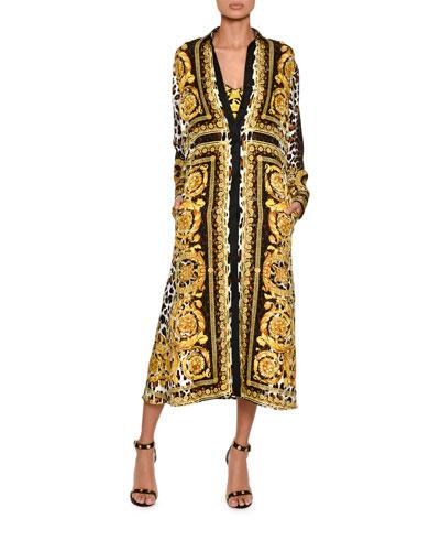Long-Sleeve Silk Twill Baroque-Print Midi Dress