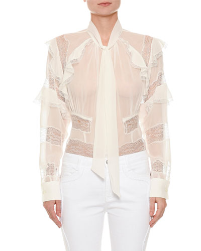 Long-Sleeve Button-Front Sheer Blouse with Lace Inset