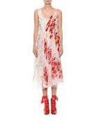 Deep V-Neck Sleeveless Gathered Floral-Print Silk Dress