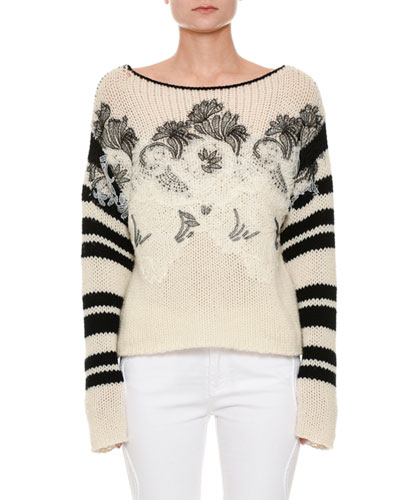 Long-Sleeve Floral-Embroidered Sweater with Lace Trim